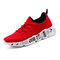 Men Breathable Knitted Fabric Light Weight Sport Casual Shoes - Red