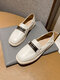 Women Casual Metal Stripe Decoration Square Toe Soft Loafers Shoes - White