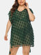 Women V-Neck See Through Tassel Sun Protection Cover Up - Green