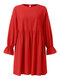 Solid Color O-neck Lantern Sleeve Plus Size Pleated Dress for Women - Red