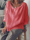 Lapel Solid Color Loose 3/4 Sleeve Casual Blouse For Women - Pink