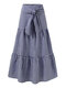 Plaid Print Elastic Waist Knotted Plus Size Casual Skirt for Women - Dark Blue
