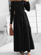 Casual O-neck Zip Front Back Long Sleeve Plus Size Pleated Dress - Black