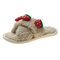 Women Cute Fruit Pattern Warmed Lined Home Plush Cotton Slippers - White