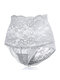 Lace High Waisted Hip-lifting Cotton Crotch Tummy Slimming Panties - Grey