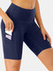 Women High Elastic Quick-Drying Yoga Sports High Waist Shorts With Side Pocket - Navy