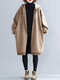Solid Color Long Sleeve Hooded Casual Coat For Women - Khaki