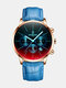 Luxury 30 Meters Waterproof Clock Male Casual Mesh Belt Quartz Watch - Blue Dial Gold Shell Blue Leathe