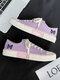 Women Lace-up Solid Skate Shoes Casual Butterfly Pattern Flats - Purple