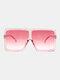Women Oversized PC Full Square Frame UV Protection Fashion Sunglasses - Pink