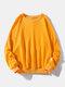 メンズコットンソリッドカラーカジュアルルーズシンプルラウンドネックスウェットシャツ - 黄
