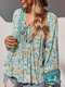 Holiday V-neck Knotted Long Sleeve Flower Print Blouse - Blue