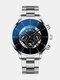Business Men Watch Steel Band Waterproof Calendar Quartz Watch - Blue Needle Silver Band