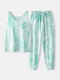 Women Tie Dye Sports Loungewear Set Tank Top Beam Feet Print Sleeveless Softies Pajamas - Blue