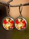 Vintage Glass Gemstone Dangle Earrings plant Flower Pattern Women Pendant Earrings Jewelry - #07