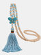 Vintage Ethnic Butterfly Tassel Pendant Wooden Beads Turquoise Necklace - Blue