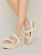 Large Size Women Casual Opened Toe Solid Color Platform Sandals - Apricot