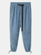 Mens Corduroy Long Outdoor Fashion Casual Jogging Cool Pant with Drawstring - Blue