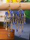 Vintage Bohemian Hollow Drop Flower Shape With Tassel Inlaid Rhinestones Alloy Earrings - Royal Blue