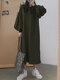 Solid Color Lantern Sleeves O-neck Casual Dress For Women - Green