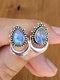 Alloy Vintage Moonstone Drop Pear Shape Earrings - Silver