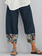 Fish Printed Patchwork Pockets Elastic Waist Pants With Pockets For Women - Navy Blue