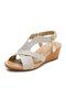 Женская богемная летняя праздничная обувь, повседневная эластичная Стандарты Удобная обувь на танкетке Сандалии - Золото