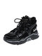 Women Casual Breathable Round Toe Color Patchwork Chunky Sneaker Shoes - Black