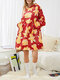 Women Christmas Element Print Fleece Lined Thicken Reversible Home Casual Blanket Hoodie - Red