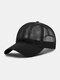 Unisex Mesh Breathable Outdoor Sonnenschutz Solid Trucker Hut Baseball Hut - Schwarz