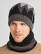 Men 2PCS Plus Velvet Thick Winter Outdoor Keep Warm Neck Protection Headgear Scarf Knitted Hat Beanie - Gray