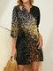 V-neck 3/4 Sleeve Light Print Dress for Women - Black