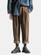 Mens Winter Corduroy Loose Overalls Multi Pockets Straight Solid Color Casual Pants