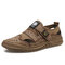 Men Hand Sitching Outdoor Breathable Mesh Leather Sandals - Sand Color