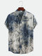 Mens Chinese Style Abstract Printing Short Sleeve Loose Casual Shirts - Apricot
