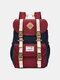 Women Waterproof Patchwork Large Capacity Travel Backpack School Bag - Red Blue