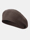Women Knitted Solid Color All-match Octagonal Hat Beret - Dark Gray
