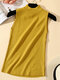 Solid Color Casual Sleeveless Knitting Sweater - Yellow