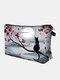 Tragbare Katze Looking The Moon bedruckte Schminktasche Damen Travel Wash Aufbewahrungstasche - Grau