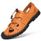 Men Closed Toe Hand Stitching Beach Water Leather Sandals - Yellow
