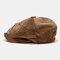 Men Corduroy Fashion Solid Casual Literature Painter Trend Beret Hat Octagonal Hat - Brown