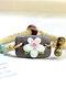 Vintage Hand-kneaded Flowers Rectangular Ceramic Bracelets - Pink