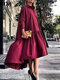 Solid Color Lapel Collar Button Long Sleeve High-low Dress - Wine Red