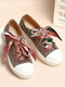 LOSTISY Scarf Decor Lace Up School Casual Skate Shoes Womens Flats - Beige