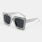 Unisex Casual Full Thick Frame Square Shape Letter Printing UV Protection Sunglasses - Grey