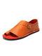 Large Size Women Retro Solid Color Buckle Clip Toe Flat Sandals - Orange
