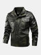 Mens Embroidery Applique Velvet Thicken Warm PU Leather Jackets With Pockets - Green
