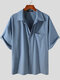 Plus Size Mens Solid Concealed Placket Lapel Casual Short Sleeve Shirts - Blue