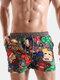 Cartoon Pattern Print Swim Trunks Funny Style Quick Drying Holiday Beachwear for Men - Gray