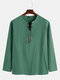 Mens Embroidery Pattern Plain Long Sleeve Lace up Henley Shirt - Green